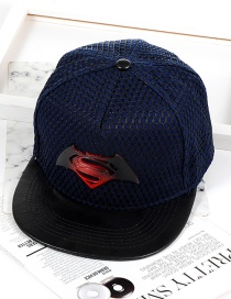 Fashion Dark Blue Super Man Shape Decorated Hat