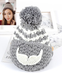 Fashion Gray Moustache Shape Decorated Hat