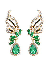 Fashion Green Oval Shape Diamond Design Hollow Out Earrings
