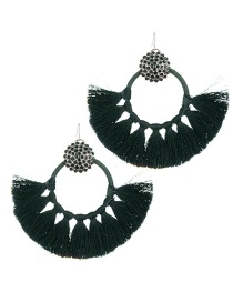 Fashion Dark Green Pure Color Design Tassel Earrings