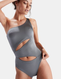 Sexy Gray Pure Color Design One-shoulder Swimwear