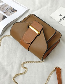 Fashion Dark Brown Belt Buckle Decorated Bag