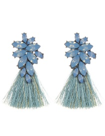 Fashion Light Blue Oval Shape Decorated Tassel Earrings