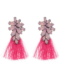 Fashion Plum-red Oval Shape Decorated Tassel Earrings