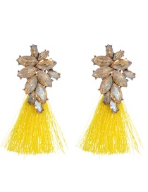 Fashion Yellow Oval Shape Decorated Tassel Earrings