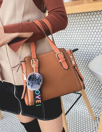 Fashion Brown Fuzzy Ball Decorated Bag