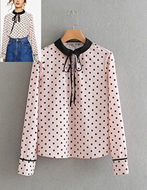 Elegant Pink Dot Shape Decorated Shirt
