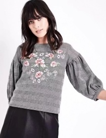 Fashion Gray Flower Pattern Decorated Blouse