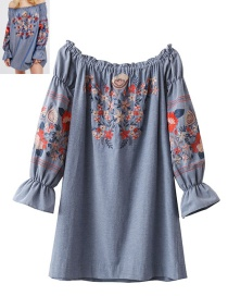 Fashion Blue Flower Pattern Decorated Blouse