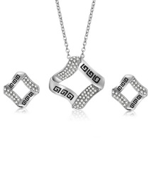 Fashion Silver Color Square Shape Decorated Jewelry Sets(2pcs)