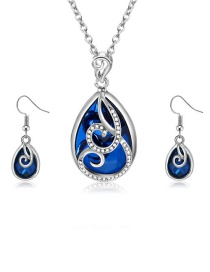 Fashion Blue Waterdrop Shape Decortaed Jewelry Sets(2pcs)