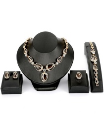 Fashion Brown Flower Shape Decorated Jewelry Sets(4pcs)