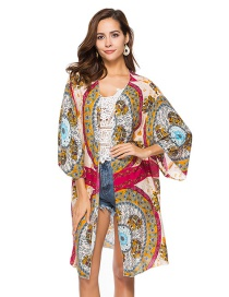 Fashion Multi-color Flower Pattern Decorated Blouse