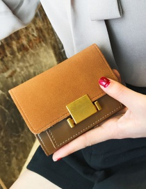 Fashion Brown Pure Color Decorated Wallet