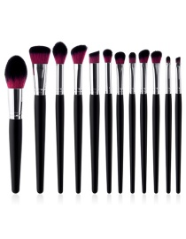 Fashion Plum-red Color-matching Decorated Brushes (12pcs)