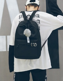 Fashion Black Fuzzy Ball Decorated Backpack