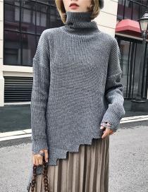 Fashion Gray Pure Color Decorated Sweater