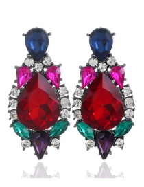 Fashion Red Waterdrop Shape Decorated Earrings
