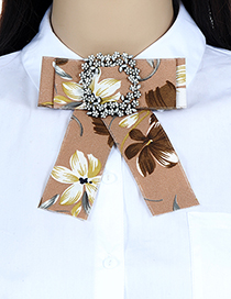 Fashion Khaki Flower Shape Decorated Bowknot Brooch
