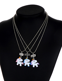 Fashion White Unicorn Shape Decorated Necklace ( 3 Pcs )