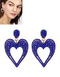 Fashion Sapphire Blue Heart Shape Decorated Earrings