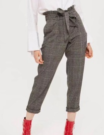 Fashion Gray Grid Patternn Decorated Trousers