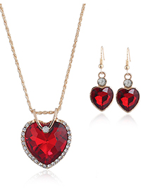Fashion Red Heart Shape Decrated Jewelry Set