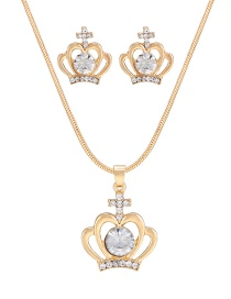Fashion Gold Color Crown Shape Decorated Jewelry Set