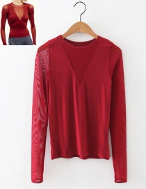 Fashion Red Pure Color Decorated V Neckline Blouse