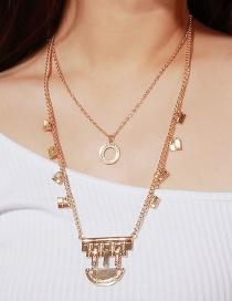Elegant Gold Color Pure Color Design Double Layer Necklace