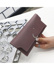 Fashion Pure Color Moon Shape Decorated Wallet
