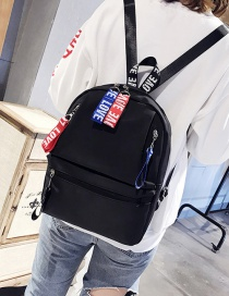 Trendy Black Letter Pattern Decorated Backpack