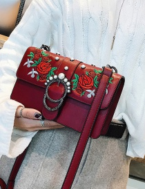 Fashion Red Embroidered Flowers Decorated Shoulder Bag