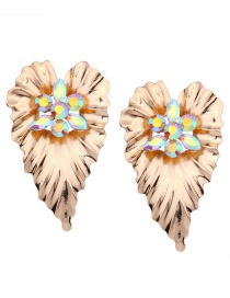 Fashion Gold Color Diamond Decorated Leaf Shape Earrings