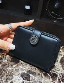Fashion Black Tree Shape Decorated Wallet