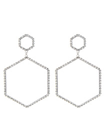 Fashion Silver Color Hexagon Shape Decorated Earrings