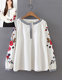 Fashion Beige Flower Pattern Decorated Shirt