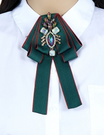 Fashion Green Geometry Shape Decorated Bowknot Brooch