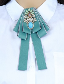 Fashion Blue Flower Shape Decorated Bowknot Brooch