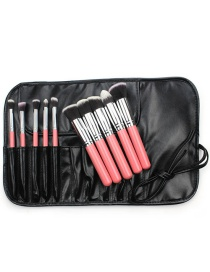 Fashion Pink+silver Color Color Matching Decorated Cosmetic Brush(10pcs With Bag)