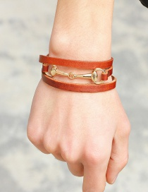 Fashion Brown+gold Color Circular Ring Decorated Multi-layer Bracelet