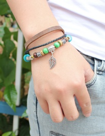 Fashion Brown Leaf Pendant Decorated Multi-layer Bracelet