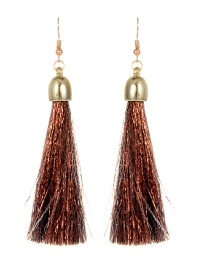 Trendy Coffee Long Tassel Decorated Simple Earrings
