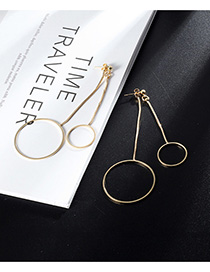 Fashion Gold Color Circular Ring Decorated Long Earrings