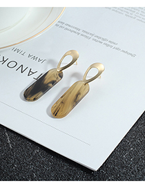 Fashion Coffee Square Shape Design Simple Earrings