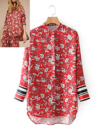 Fashion Red Flower Pattern Decorated Long Sleeves Shirt