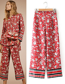 Fashion Red Flower Pattern Decorated Long Pants