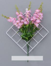 Fashion White+pink Grid Shape Design Pure Color Ornament(with Nemophila)