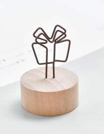 Fashion Brown Gift Shape Decorated Business Card Holder