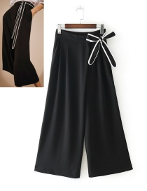 Fashion Black Bowknot Decorated Wided-legs Pants